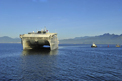 USNS Millinocket (JHSV 3) approaches the pier in Da Nang Aug. 17.  (U.S. Navy/Lt. j.g. Elizabeth Feaster)