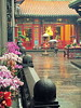 Rain beats down on an inner part of Longshan Temple, Taipei, 2015
