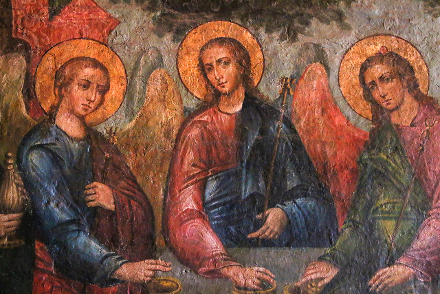 """""""Trinity"""" wall painting in Saint Basil's Cathedral, Moscow, Russia モスクワ、聖ワシリー寺院内の「聖三位一体」の壁画"""