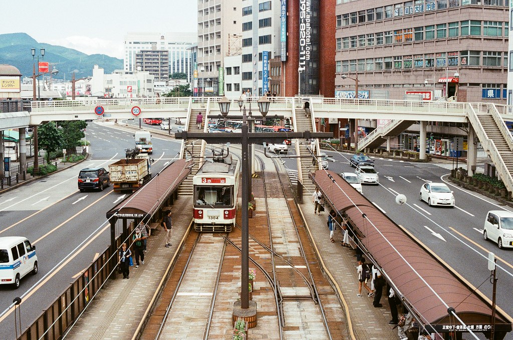 路面電車 長崎 Nagasaki 2015/09/07 路面電車車站。  Nikon FM2 / 50mm Kodak UltraMax ISO400 Photo by Toomore