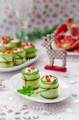 Cucumber Rolls Stuffed with Feta, Herbs, Capsicum…