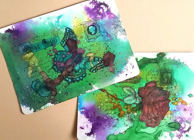 Mail art with diamine shimmertastic inks on Maruman watercolor paper