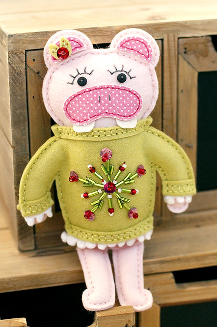 Softie Hippo Wearing a Fashion Sweater for a Holiday Party, Stitching Dies by Papertrey Ink