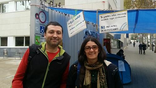 Imatge d´Àlex Tisminetky, Secretari Salut Laboral i Elisenda, delegada de CGT Correus després de la reunió amb l´ICAM on ha donat com a resultat que es reunirem periòdicament per tractar les altes mèdiques injustes i les malalties silenciades
