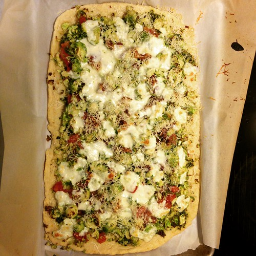 Pesto Brussel sprout pizza