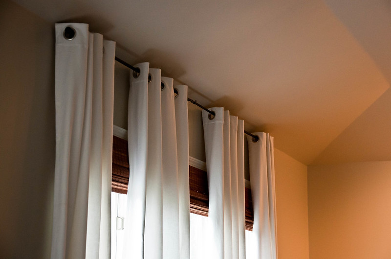 White Curtains Bamboo Shades