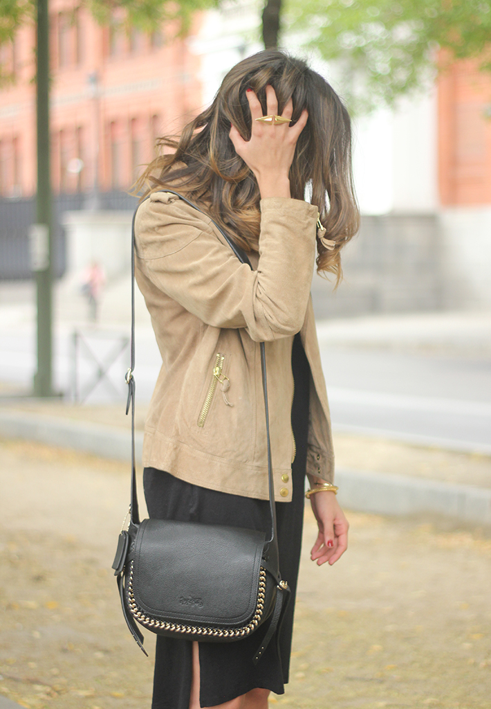 Suede Jacket Black Dress Coach Bag style fall outfit autumn26