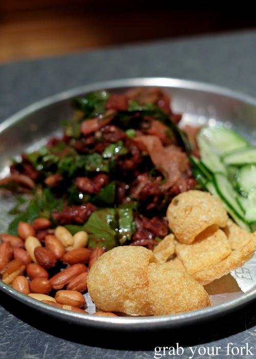 Peanuts, crackling and cucumber accompanying the larb dib raw beef salad at Chung Tang, Chatswood