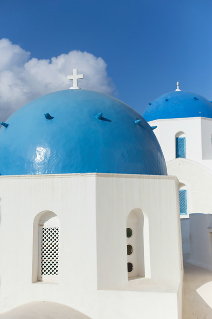 Santorini blue domes + blue skies