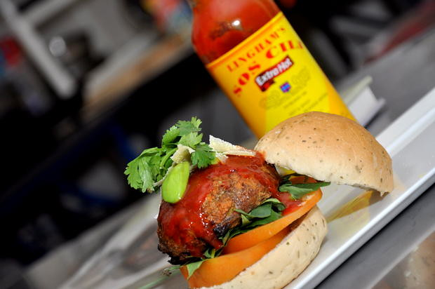 Lingham's Sriracha Chilli Sauce Petai Burger with Lingham's Extra Hot Chilli Sauce