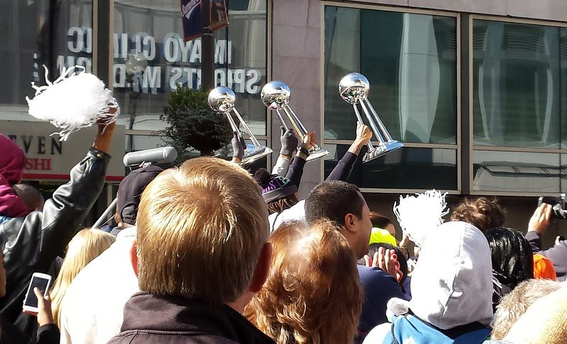 Three WNBA Championship trophies held high in the 2015 parade