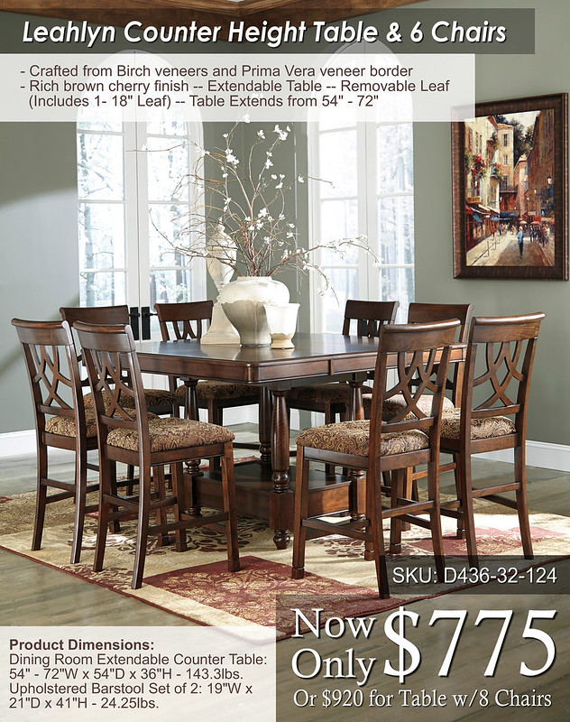 Leahlyn Counter Height Set 6 chairs