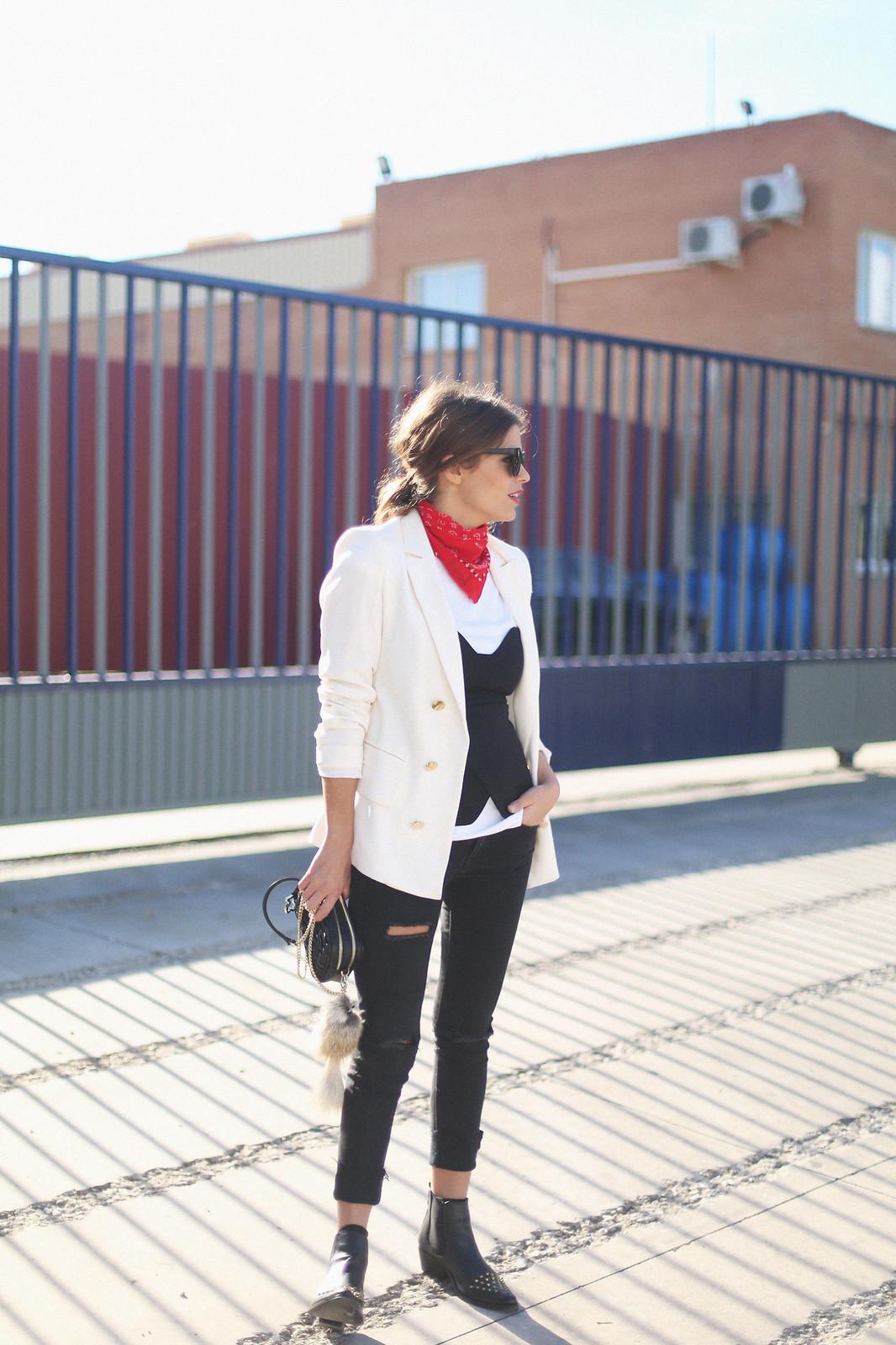 7. jessie chanes - white blazer gold studs booties