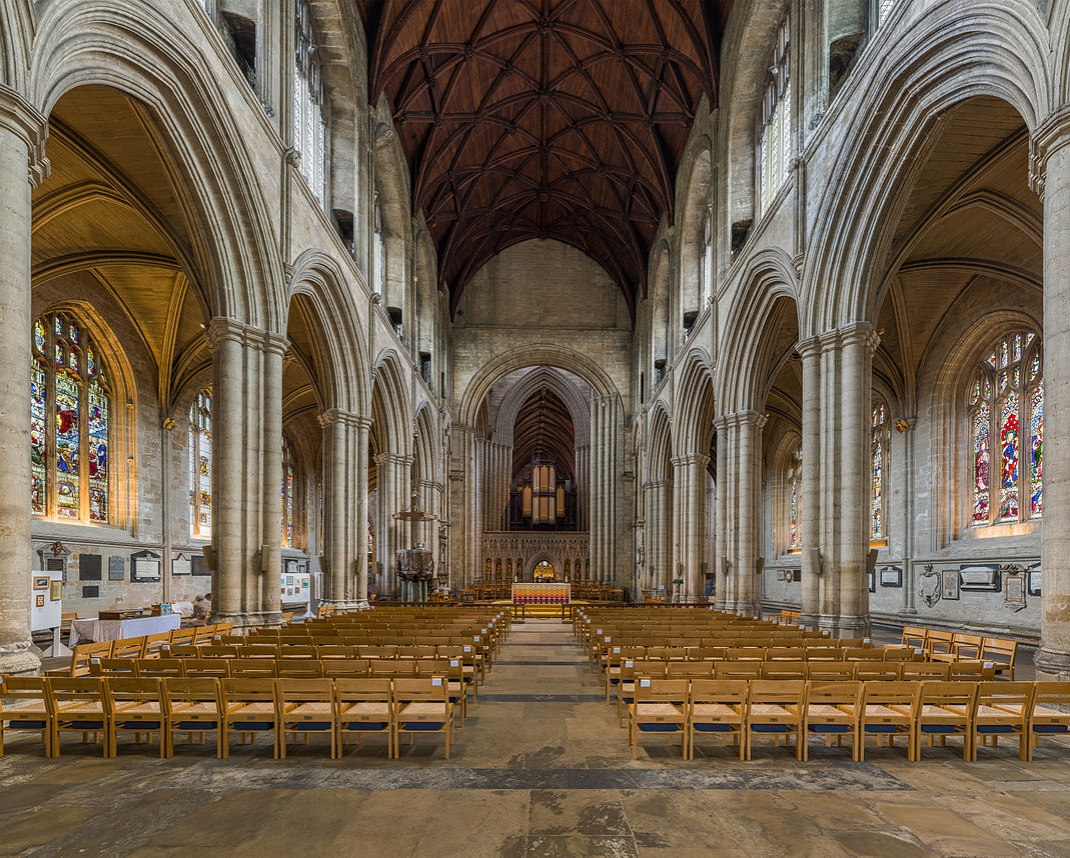Ripon Cathedral - The nave, showing a clear asymmetry in the arches. Credit: David Iliff