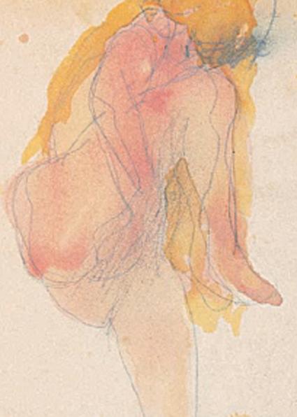 15k13 ARodin Femme nue avec main sous jambes levées ca 1890 Lápiz grafito y acuarela 17 30 x 11 cm