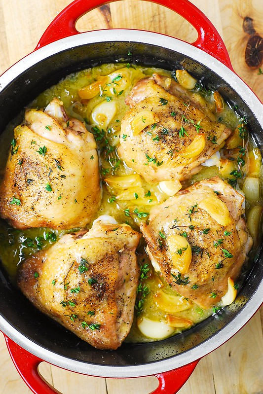 Recipe for garlic chicken thighs