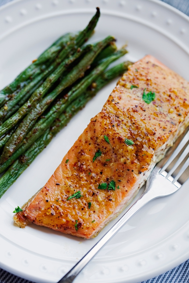 9cb5a67d6f1f One Sheet Pan Honey Mustard Salmon with Green Beans - An easy weeknight  dinner that s all