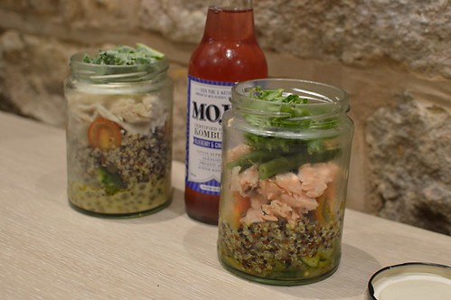 Chicken salad, Mojo kombucha, poached salmon salad