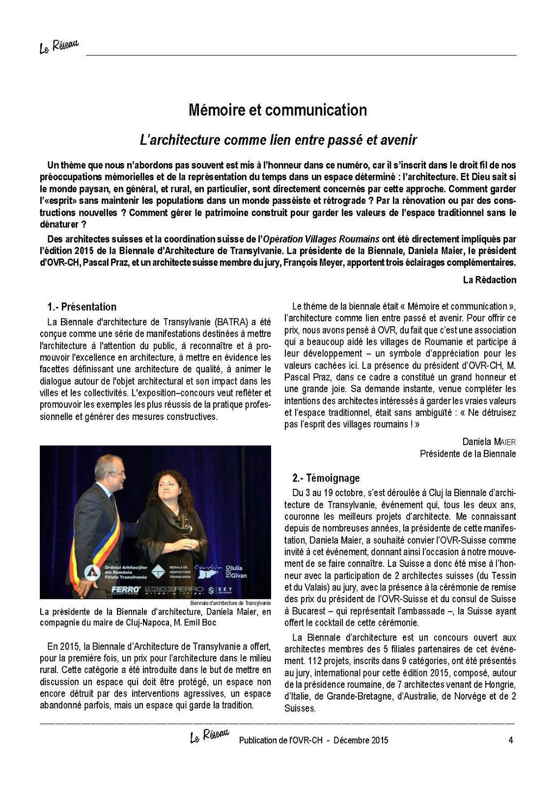 Le Réseau Publication de l'OVR-CH N° 54 - Décembre 2015