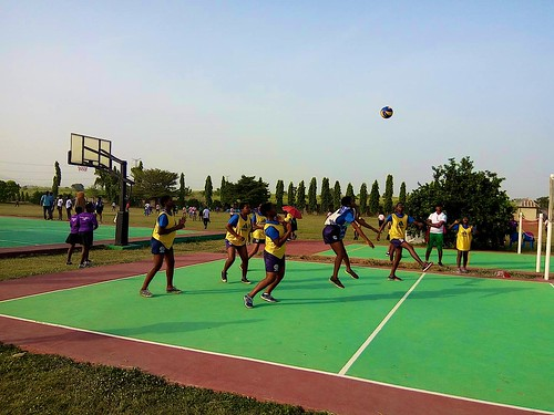 The students of Louisville Girls Secondary School, Gwagwalada, in a volleyball match against a local school