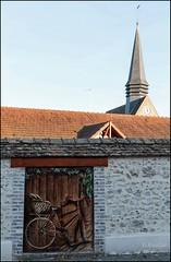 Fresque sur le mur de l'école de Montacher 89