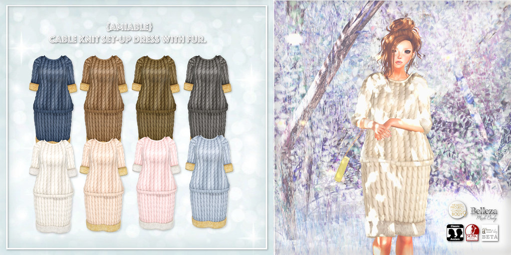 {amiable}Cable Knit Set-up Dress with Fur@ the Whimsical.(50%OFF SALE).