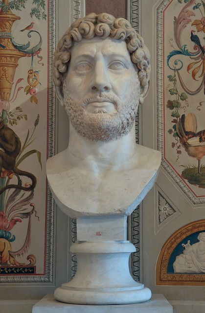 Colossal portrait of Hadria, Luni Marble, 140 AD (after his death), Galleria Borghese, Rome