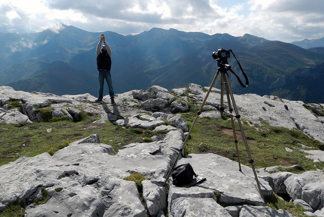 A photographer takes a selfie in the Picos de Europa in northern Spain