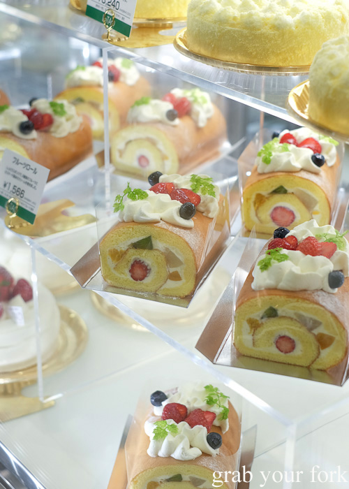 Perfect sponge rolls with fruit and cream at Daimaru, Sapporo