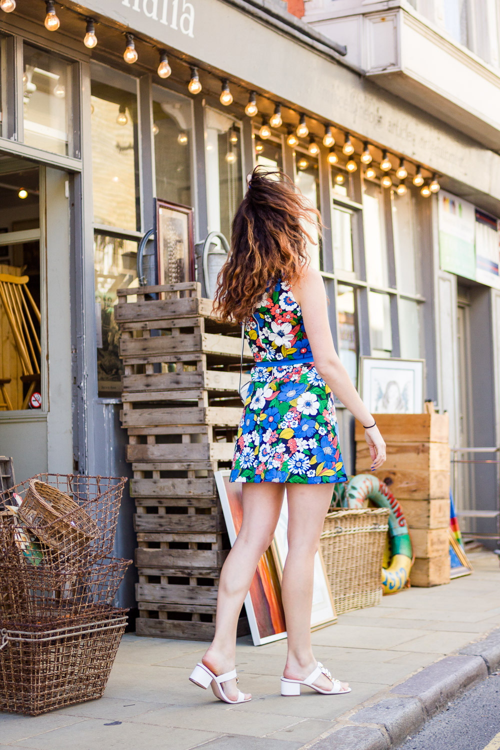 asos floral a-line dress outfit hair blowing