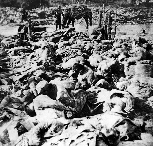 Bodies of Chinese massacred and burned by Japanese troops during Nanking Massacre