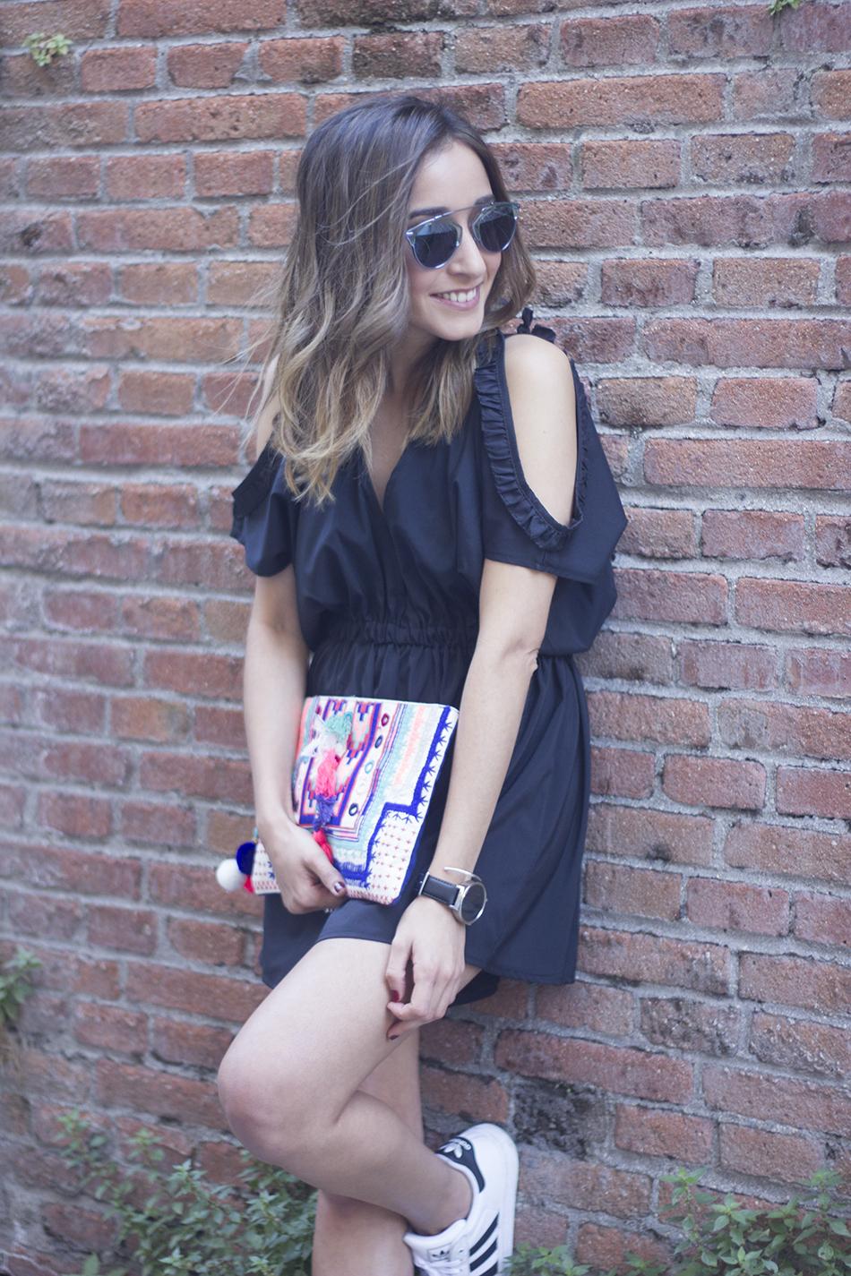 Black Jumpsuit With Adidas SuperStar12
