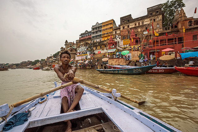On a boat ride along the Ganges river in Varanasi, India.