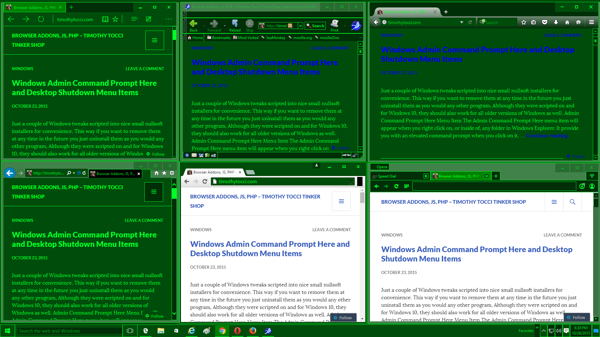 MilSpecGreen Windows 10 Browser Comparison