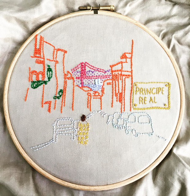 This bridge is missing something... #Lisboa #Lisbon #embroidery #airembroideryclub #urbansketchers