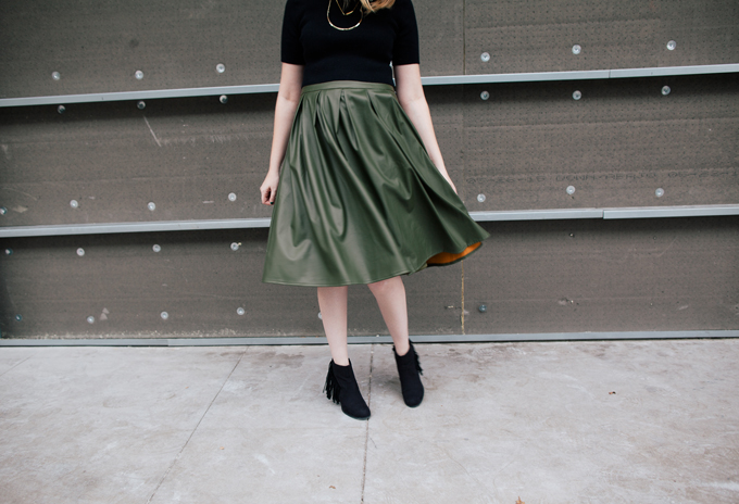 olive leather skirt crop top4