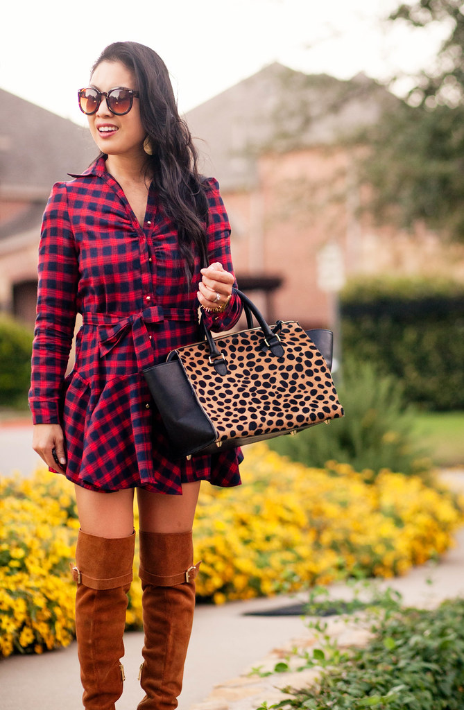 cute & little blog | petite fashion | red plaid dress, suede over the knee boots, leopard satchel | fall outfit