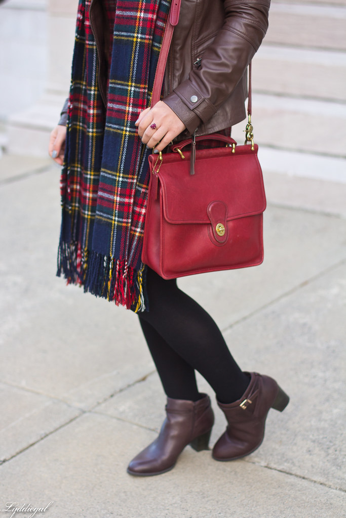 plaid dress, brown leather jacket, brown boots-2.jpg