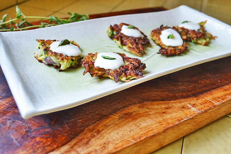 Fried Zucchini Pancakes with Creme Fraiche and Oregano