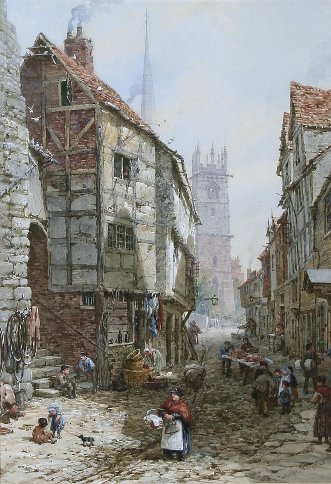 Fish Street, Shrewsbury by Louise Rayner, c.1870-1880