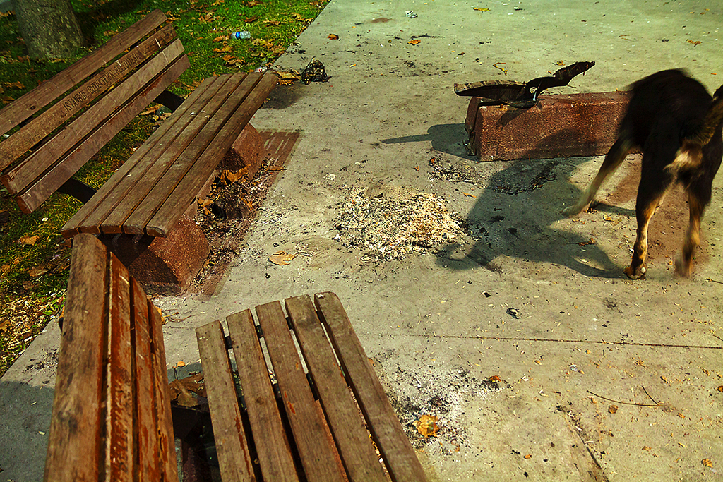 Three benches, one dismantled--Istanbul