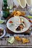 Fajitas de butifarra esparracada, setas, cebolla y queso - Fajitas sausage, mushrooms, onions and cheese