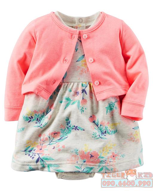 Quần áo trẻ em, bodysuit, Carter, đầm bé gái cao cấp, quần áo trẻ em nhập khẩu, Bộ set đầm kèm áo khoác nhập Mỹ 3M-6M-9M-12M-18M-24M