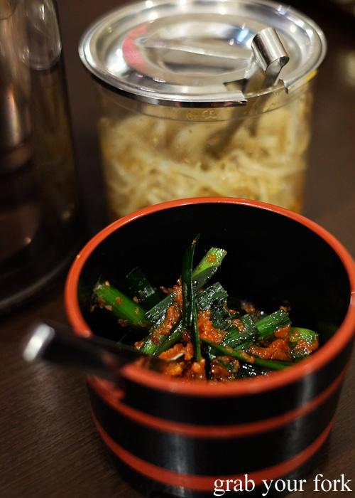Chilli garlic chives at Misono at Sapporo Ramen Kyowakoku or Sapporo Ramen Alley, Hokkaido
