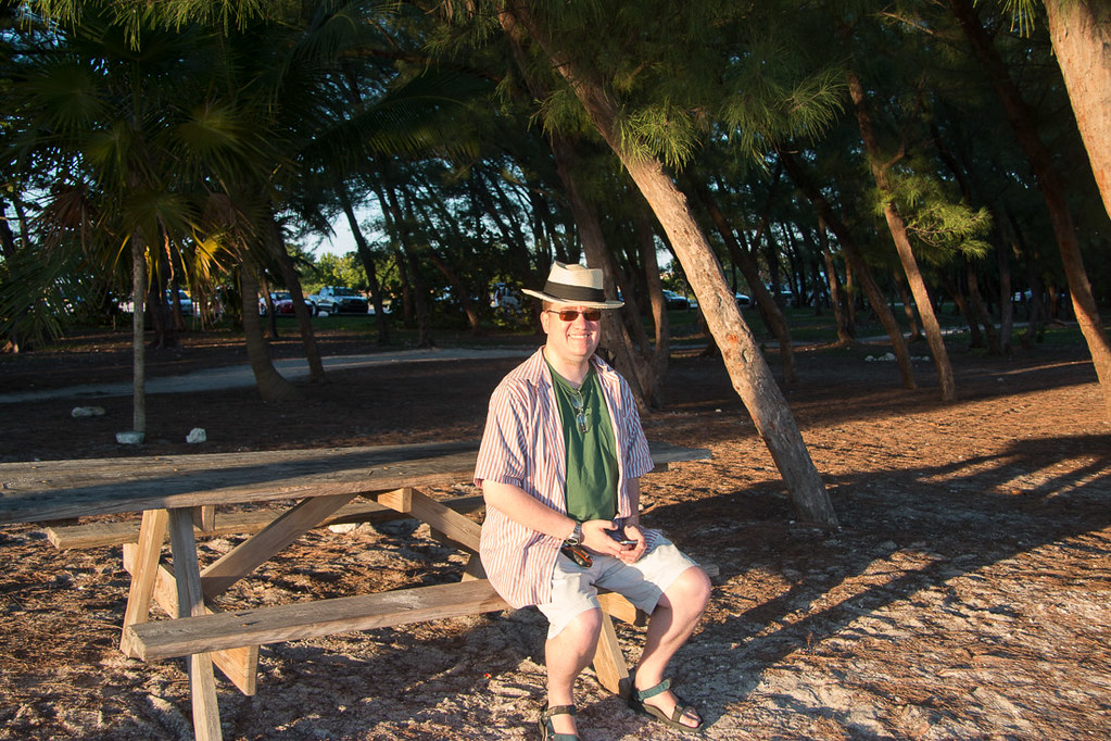 Ken sitting at picnic table at Fort Zachary Taylor