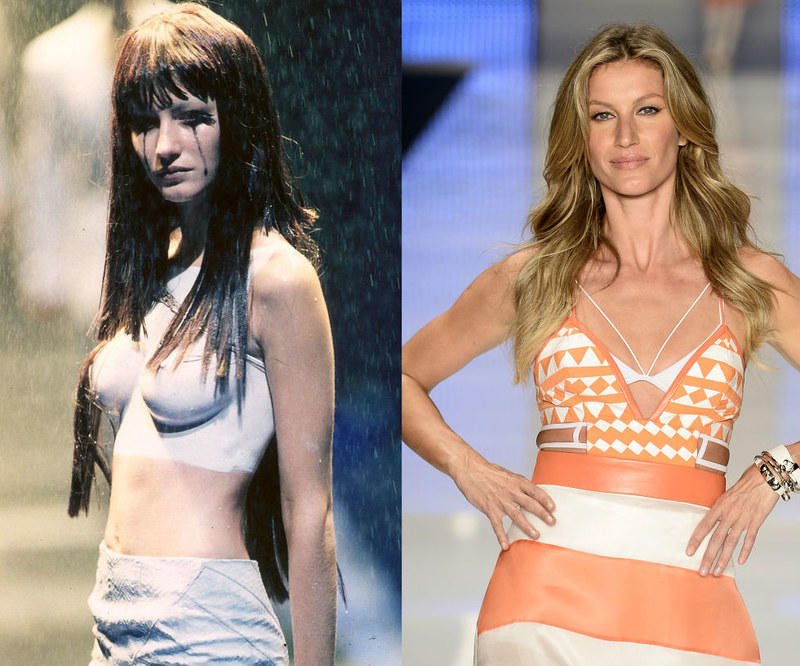 GISELE BUNDCHEN - At the Alexander McQueen Spring/Summer 1998 presentation in 1997, and the final catwalk of her career, at Colcci during Sao Paolo Fashion Week in April.