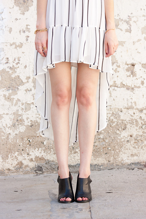 Hi Low Hem Dress, Striped Dress, Mules