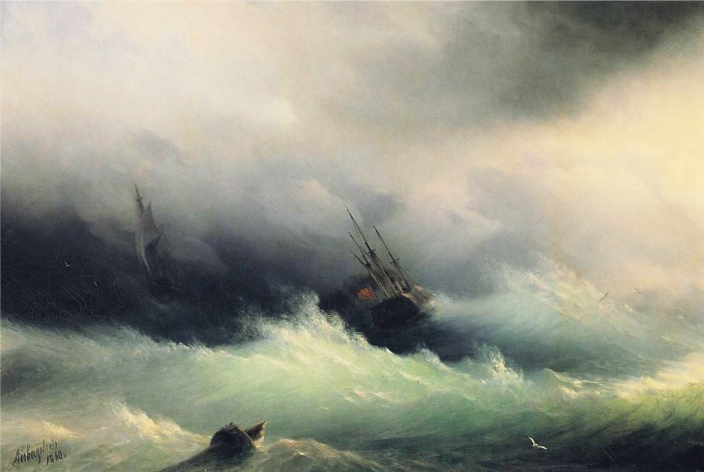 Ships in a Storm by Ivan Constantinovich Aivazovsky - 1860