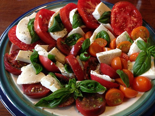 Caprese salad. Home grown tomatoes and basil, home made mozzarella.