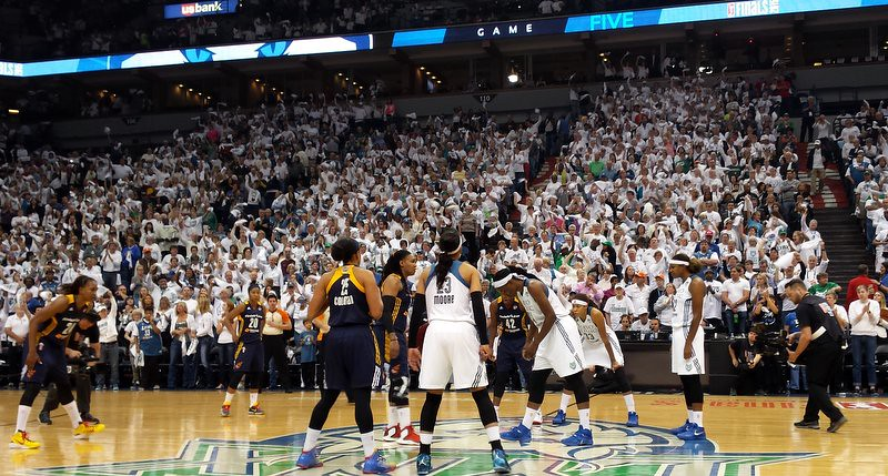 Jump ball at the start of Game 5 of the 2015 WNBA Finals